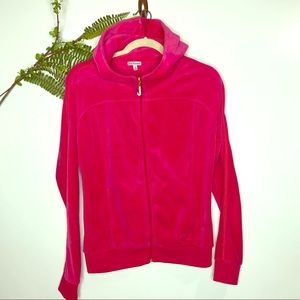 Juicy Couture Hot Pink Velour Hoodie Sweatshirt